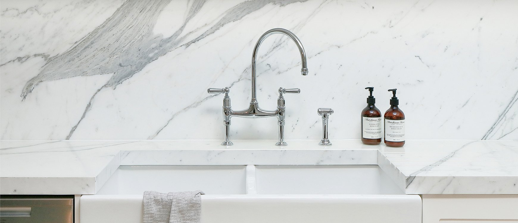 Kitchen sink with matching black glass tap landing and sliding cover - Design Icon Perrin Rowe Ionian Kitchen Tap